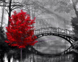 "Diamond painting ""Little bridge with red tree"""