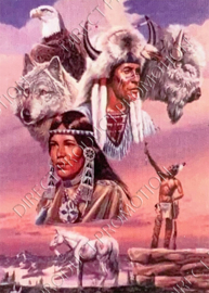 "Diamond painting ""Indians and animals"""