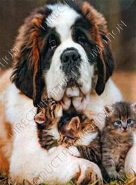 """Diamond painting """"Saint Bernard with kittens"""""""