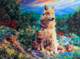 """Diamond painting """"Wolves family"""""""