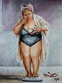 "Diamond painting ""Fat lady on scales"""