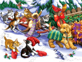 "Diamond painting ""Animals and sled"""