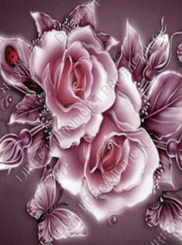 """Diamond painting """"Roses with butterflY"""""""