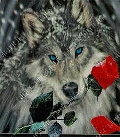 "Diamond painting ""Wolf with rose"""