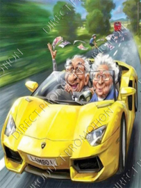 "Diamond painting ""Grandpa and grandma in convertible"""