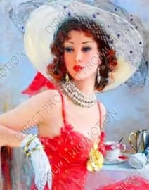 """Diamond painting """"Woman with white hat"""""""