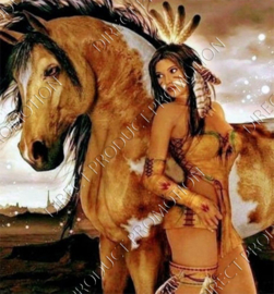 "Diamond painting ""Indians woman with horse"""