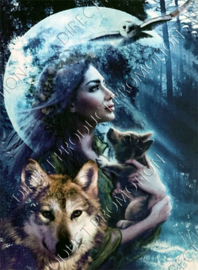 "Diamond painting ""Wolves girl"""