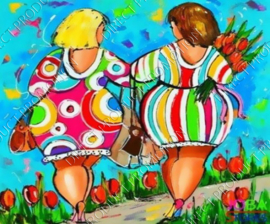 "Diamond painting ""Walking fat ladies"""