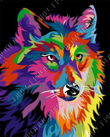"Diamond painting ""Colorful wolf"""