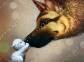 "Diamond painting ""German Shepherd and kitten"""