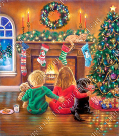 "Diamond painting ""Children are waiting for Santa"""