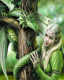 "Diamond painting ""Elf with dragon"""