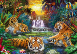 "Diamond painting ""Tigers in jungle"""