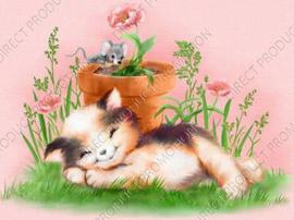 "Diamond painting ""Kitten with mouse"""