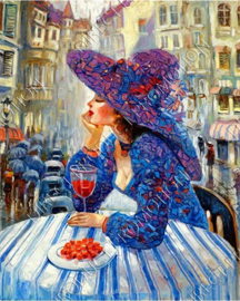 "Diamond painting ""Woman on terrace"""