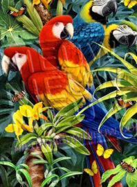 "Diamond painting ""Parrots and butterflies"""