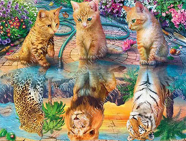 "Diamond painting ""Kittens become tiger, lion and leopard"""