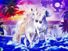 "Diamond painting ""Two white horses"""