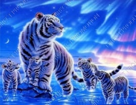 "Diamond painting ""White tiger with cubs"""