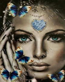 """Diamond painting """"Face and butterflies"""""""