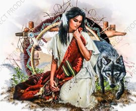 "Diamond painting ""Indian woman with dream catcher"""