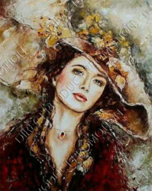 """Diamond painting """"Woman with flower hat"""""""