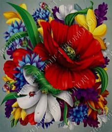 """Diamond painting """"Poppy with flowers"""""""