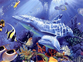 "Diamond painting ""Dolphins with sea animals"""
