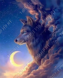 "Diamond painting ""Wolf in the clouds"""
