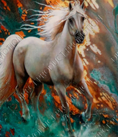 "Diamond painting ""White horse"""
