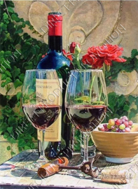 "Diamond painting ""Wine bottle with glasses"""
