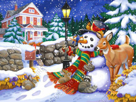 "Diamond painting ""Snowman with animals"""