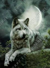 """Diamond painting """"Wolf at full moon"""""""