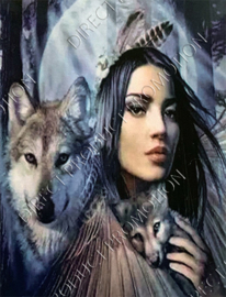 "Diamond painting ""Indian girl with wolves"""