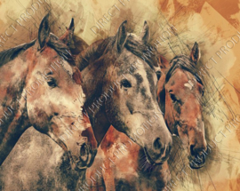 "Diamond painting ""Painting of horses"""