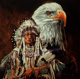 "Diamond painting ""Indian with bald eagle"""