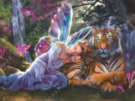 "Diamond painting ""Elf with tiger"""