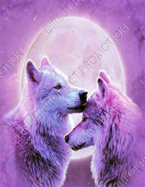 "Diamond painting ""Wolves at full moon"""