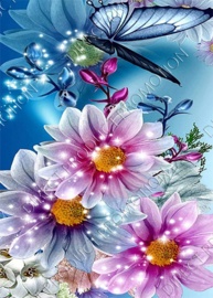 """Diamond painting """"Butterfly with flowers"""""""