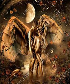 "Diamond painting ""Bronze angel with woman"""