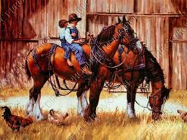 """Diamond painting """"Children on horseback"""""""