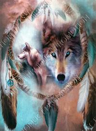 "Diamond painting ""Wolves dream catcher"""