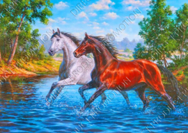 "Diamond painting ""Two horses"""