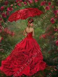 """Diamond painting """"Lady with roses dress"""""""