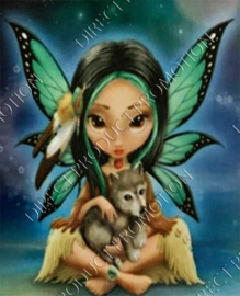 "Diamond painting ""Fairy with wolf"""