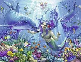 "Diamond painting ""Mermaid with dolphins"""