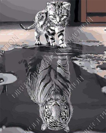 "Diamond painting ""Cat becomes tiger"""