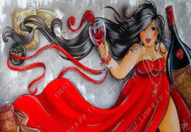 "Diamond painting ""Fat lady in red dress"""