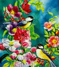 "Diamond painting ""Great tits among flowers"""